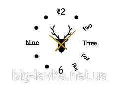 Часы наклейка Олень 3D Diy 50 см  Черный