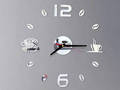 Часы наклейка Кофейные зерна 3D Diy 50 см  Серебристый