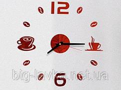 Годинник наклейка Кавові зерна 3D Diy 50 см Червоний