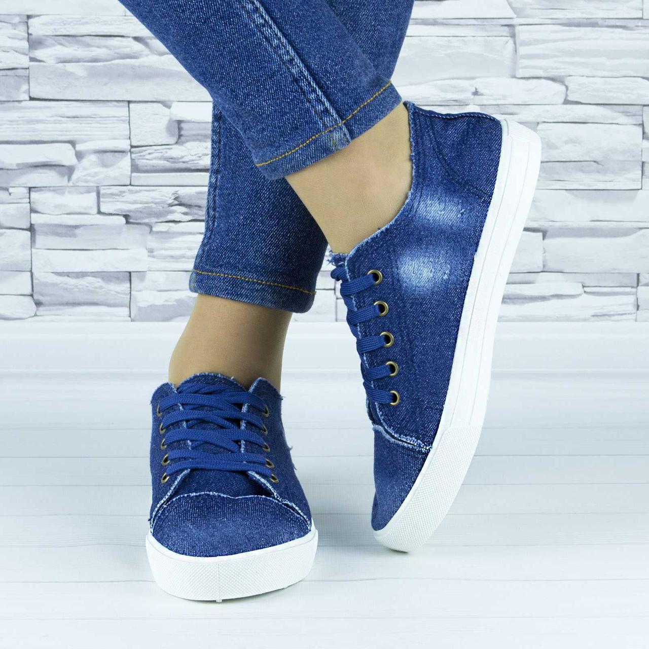Кеды джинсовые синие женские демисезонные текстильные (b-674)