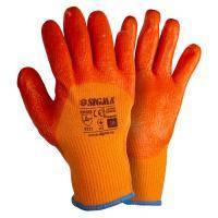 Перчатки трикотажные с частичным ПВХ покрытием утепленные р10 (оранж манжет) SIGMA (9444441)