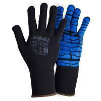 Перчатки трикотажные с латексным покрытием (паутина на ладони) р10 (синие манжет) SIGMA (9445541)
