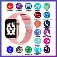 Розумні годинник Смарт годинник Smart Watch T500 з сенсорним екраном і пульсометром голосовий виклик рожеві +