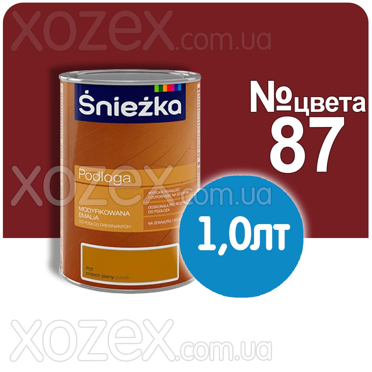 """Орех-средний""""Orzech Sredni"""",Красно-кор.№87 Краска для пола Sniezka 1,0лт"""