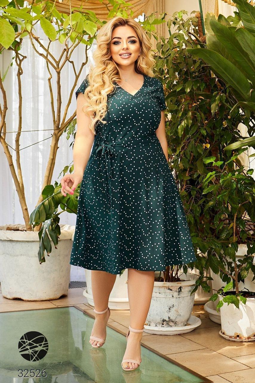 Элегантное женское платье А-силуэта с абстрактным принтом с 50 по 56 размер