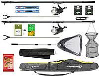 Готовый набор для рыбалки для подарка, 2 карбоновых телескопических удочки 4 м для ловли мирной рыбы