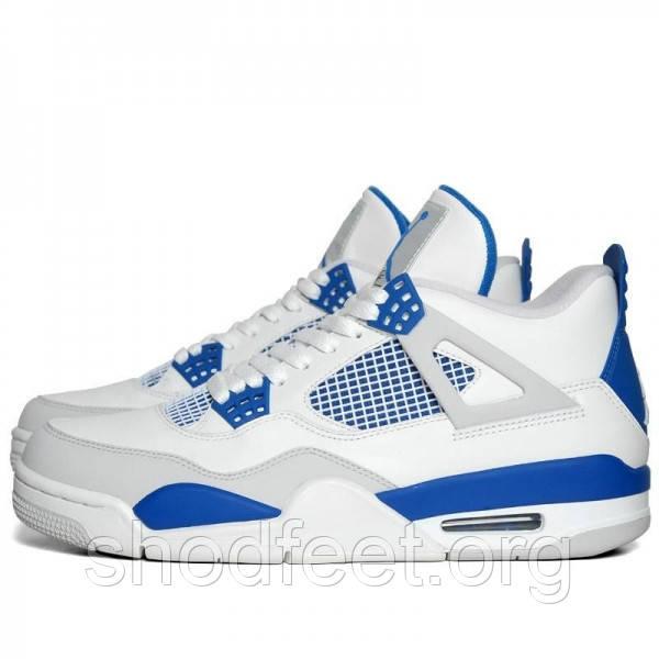 Мужские кроссовки Jordan Retro 4 White and Blue