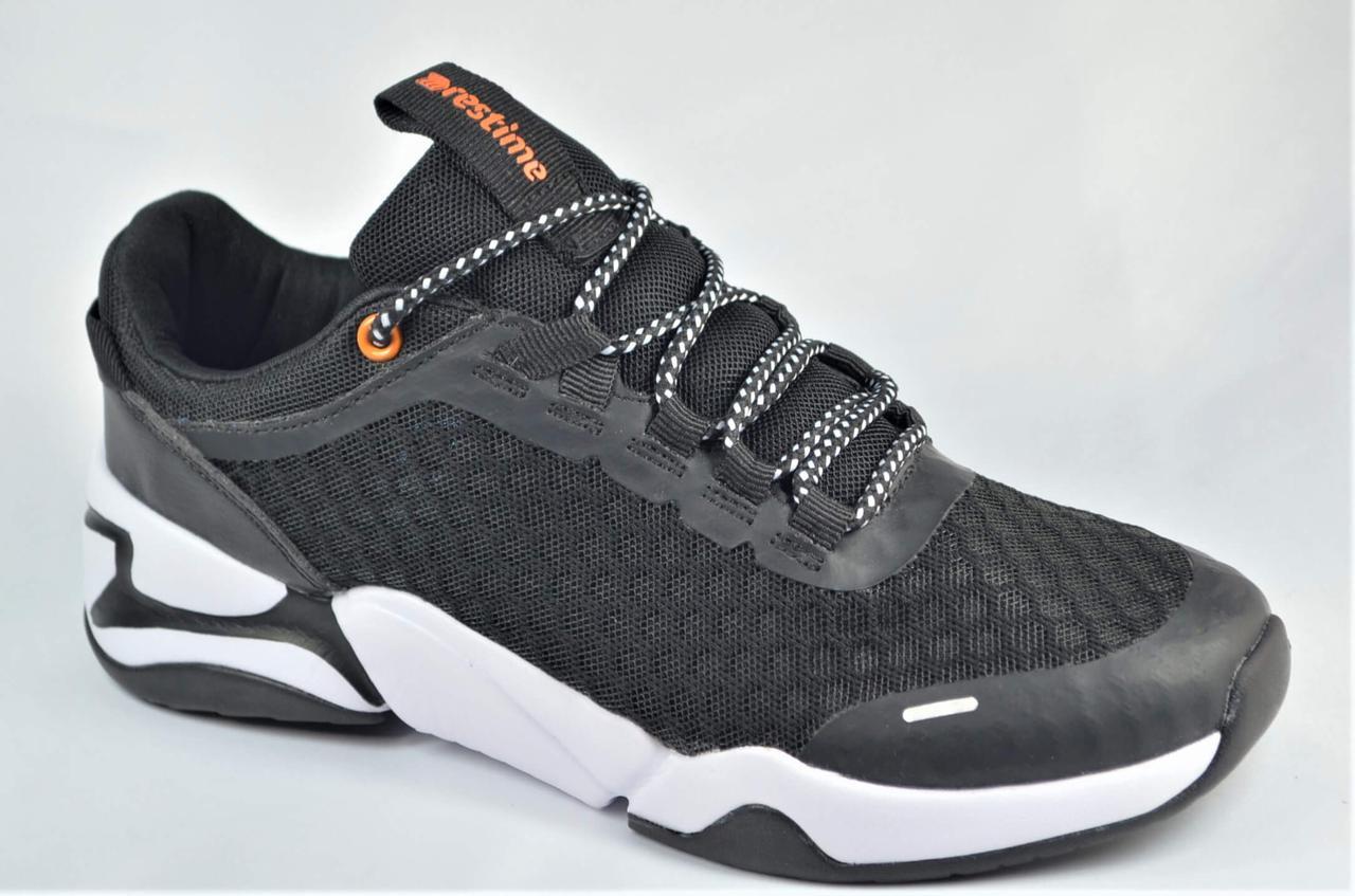 Підліткові та жіночі літні кросівки сітка чорні з білим Restime 21812