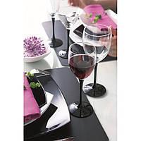 Набор бокалов для вина на черной ножке Luminarc Domino 350 мл