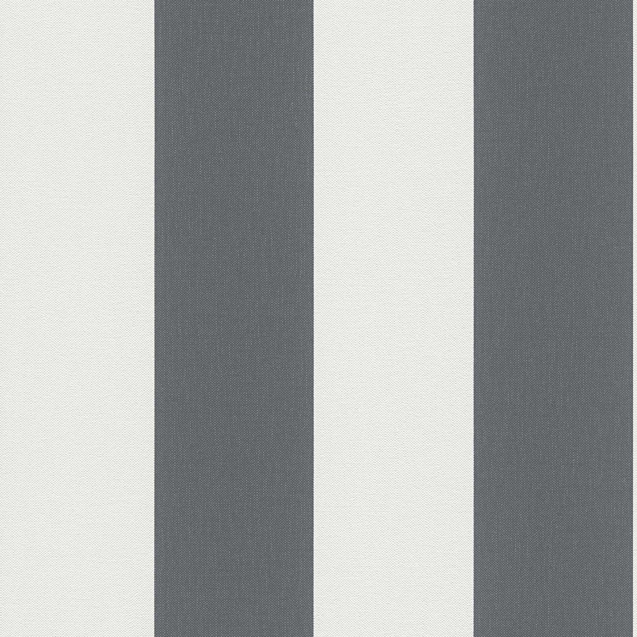 Німецькі вінілові шпалери Elegance 179050 в широку смужку темно сірого кольору на білому, мокрий асфальт, графіт