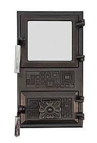 Дверца для печи со стеклом и регулировкой подачи воздуха 102913х, эффект холодной ручки