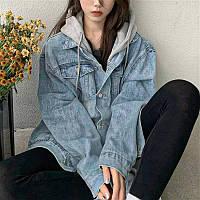 Женская стильная джинсовая куртка с трикотажным капюшоном, фото 1