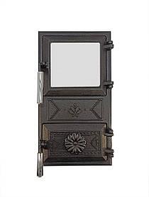 Дверца для печи со стеклом и регулировкой подачи воздуха 102920х, эффект холодной ручки