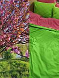 Комплект постельного белья Микрофибра Салатово - голубой однотонный двухсторонний, фото 3
