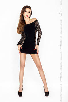 Бодистокинг Passion BS025 black, платье-сетка, спущенное плечо, длинный рукав Bomba💣