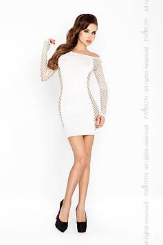 Бодистокинг Passion BS025 white, платье-сетка, спущенное плечо, длинный рукав Bomba💣