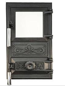 Дверца для печи со стеклом и регулировкой подачи воздуха 102921х, эффект холодной ручки