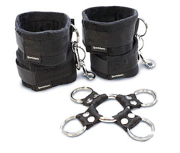 Набор для фиксации рук и ног Sportsheets Hog Tie & Cuff Set (крестовина, наручники и поножи) Bomba💣