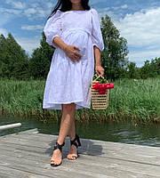 Натуральное летнее платье для беременных и кормящих мам цвет белый
