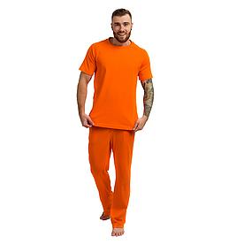Пижама мужская (футболка и штаны) оранжевая