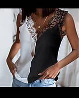 Женская стильная майка с кружевом, фото 1
