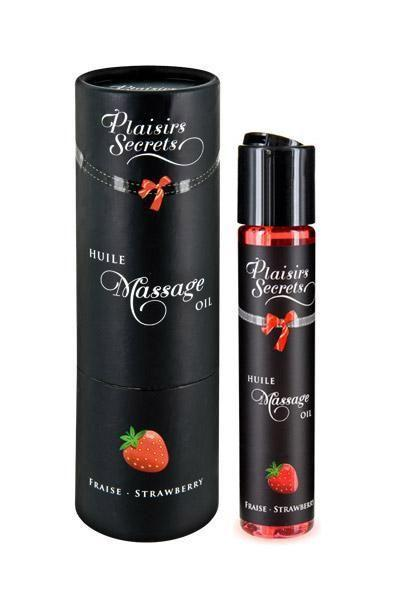 Массажное масло Plaisirs Secrets Strawberry (59 мл) с афродизиаками, съедобное, подарочная упаковка Bomba💣