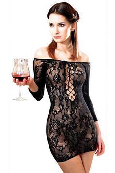 Платье-сетка с декольте Anne De Ales FETISH DINNER Black XL, спущенное плечо Bomba💣