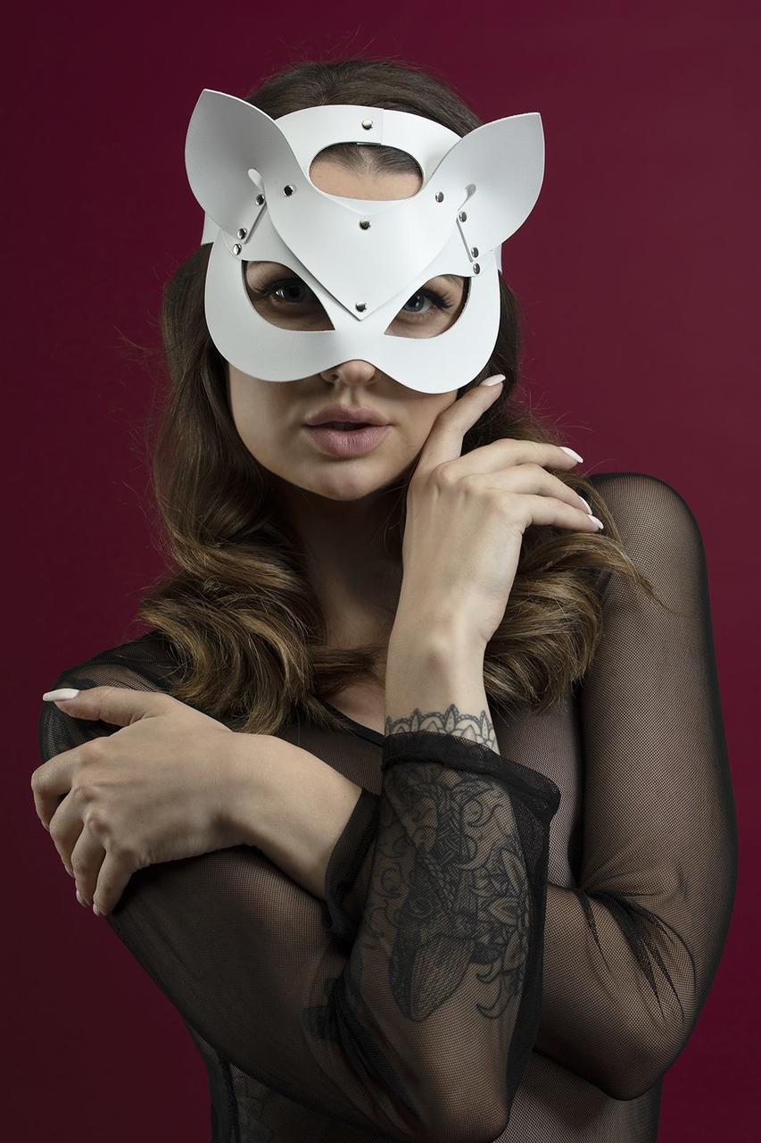 Маска кошечки Feral Feelings - Catwoman Mask, натуральная кожа, белая Bomba💣