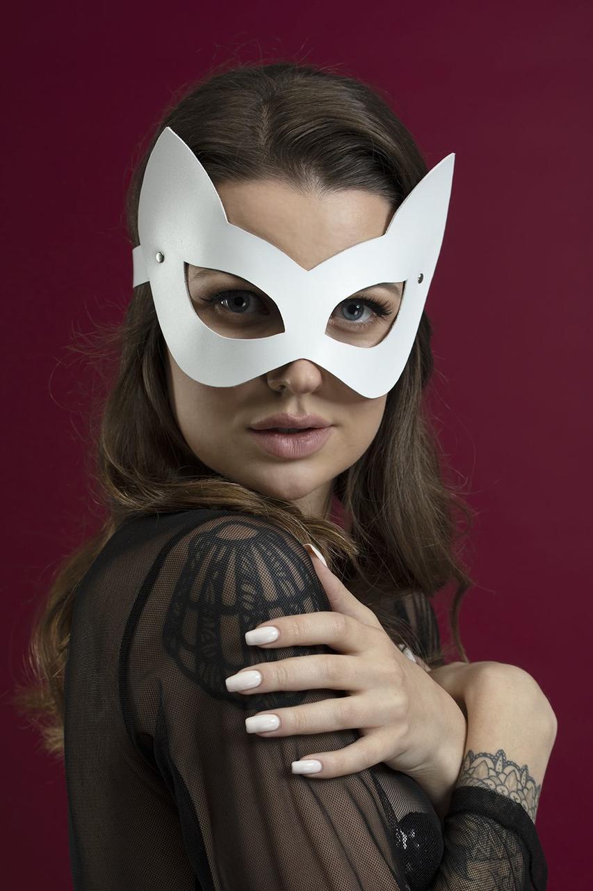 Маска кошечки Feral Feelings - Kitten Mask, натуральная кожа, белая Bomba💣