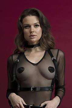 Портупея на грудь Feral Feelings - Harness Top, натуральная кожа, цвет черный Bomba💣