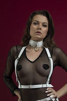 Портупея на грудь Feral Feelings - Harness Top, натуральная кожа, цвет белый Bomba💣