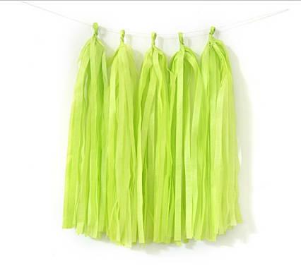 Бумажная гирлянда тассел из кисточек тишью  5 шт) длина  кисточки 35 см салатовый