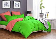 Комплект постельного белья Микрофибра Салатово - коралловый однотонный двуспальный