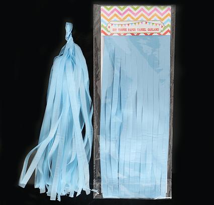 Бумажная гирлянда тассел из кисточек тишью ( 5 шт) длина  кисточки 35 см голубой