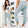 Женский стильный прогулочный костюм: футболка и штаны Батал