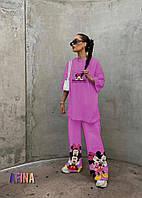 Женский стильный костюм: футболка с широкими брюками Батал, фото 1