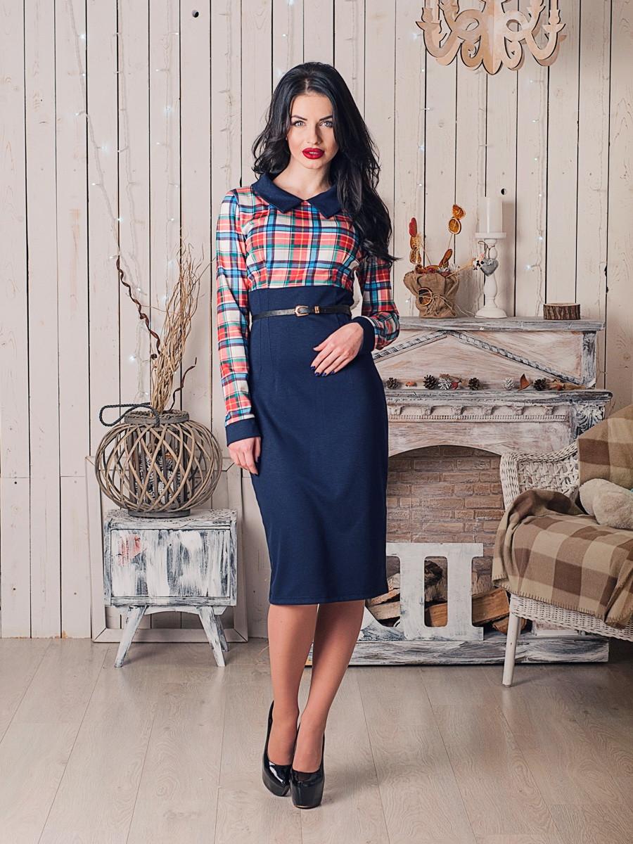 Стильное деловое платье с длинным рукавом