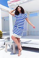 Стильне жіноче приталене плаття в смужку з коротким рукавом Батал, фото 1
