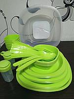 Набір пластикового посуду на 48 предметів для пікніка