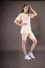 Комплект женский летний футболка с поясом и велосипедки нюд