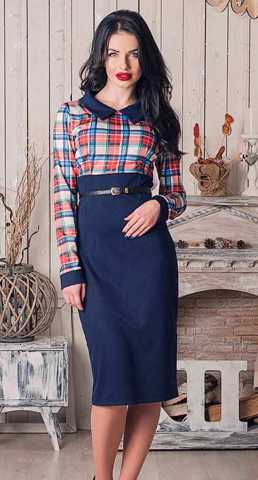 стильное офисное платье ниже колена в клетку, синее платье, женское деловое платье