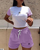 Спортивный женский костюм на лето шорты+футболка