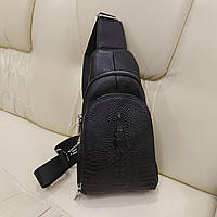 Мужской кожаный рюкзак на одно плечо крокодил