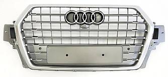 Решетка радиатора Audi Q7 4M (16-19) стиль SQ7 (серебро)