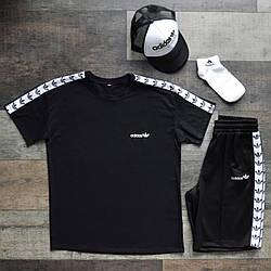 Adidas (адидас) Оридж Мужской спортивный костюм/комплект черный лето/весна. Футболка+шорты с лампасами