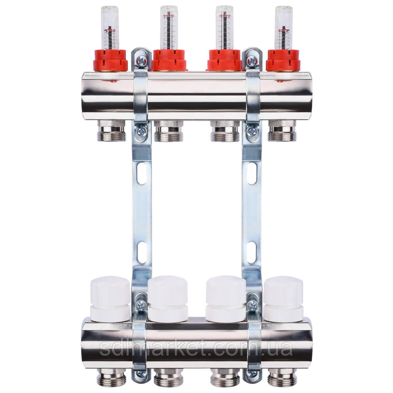 "Коллектор с расходомерами, регуляторами и креплением ECO 001A 1""x4"