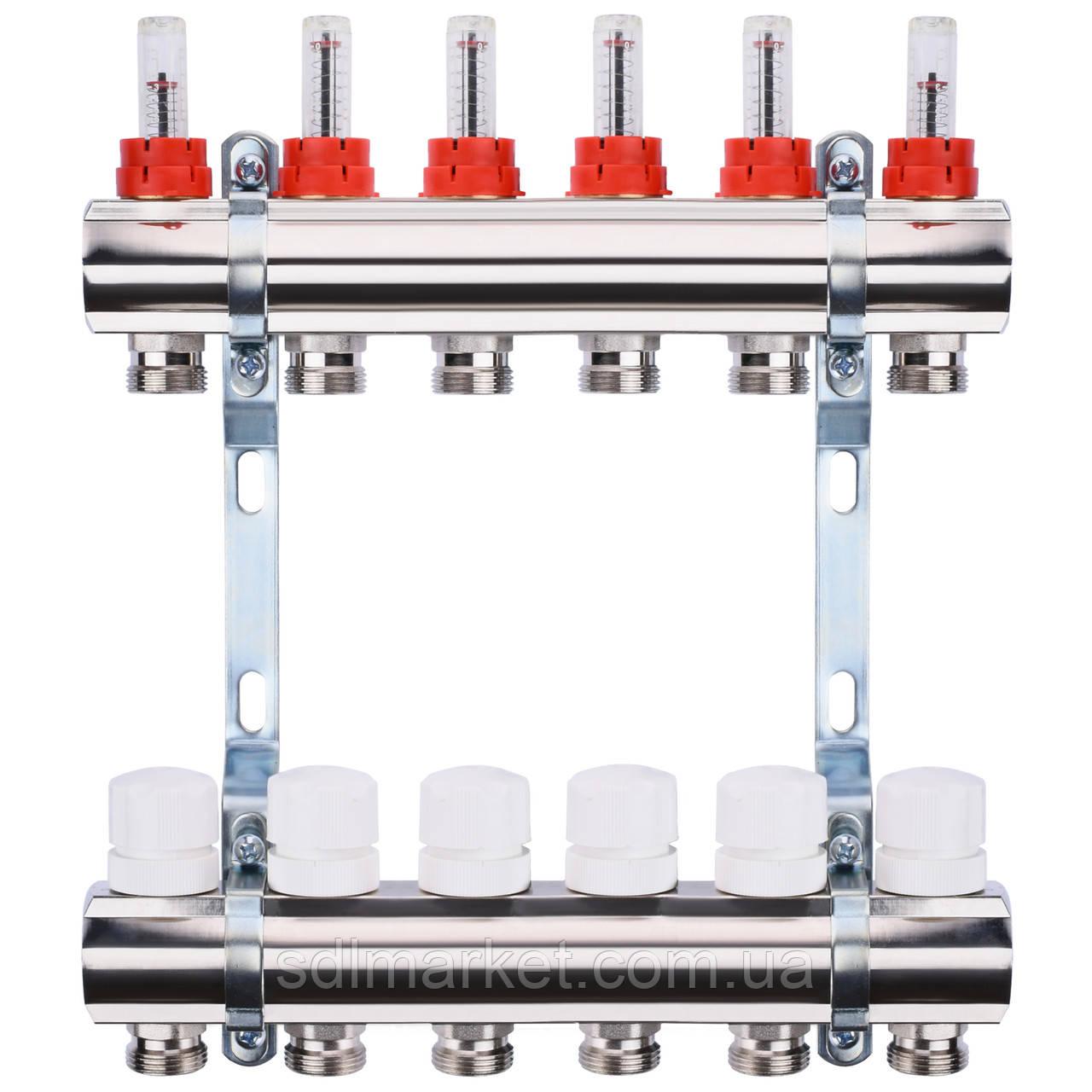 """Колектор з витратомірами, регуляторами і кріпленням ECO 001A 1""""x6"""