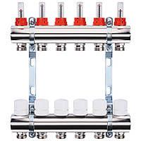 """Колектор з витратомірами, регуляторами і кріпленням ECO 001A 1""""x6, фото 1"""