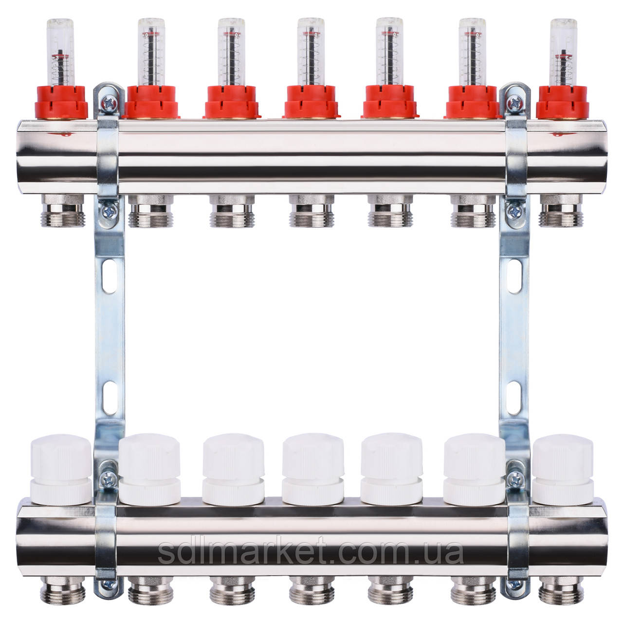 "Коллектор с расходомерами, регуляторами и креплением ECO 001A 1""x7"