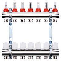 """Коллектор с расходомерами, регуляторами и креплением ECO 001A 1""""x7, фото 1"""